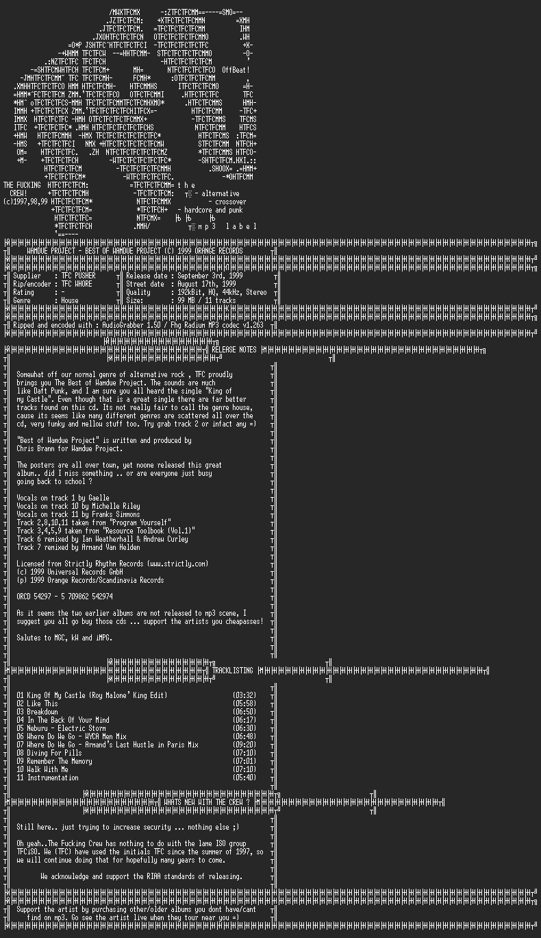NFO file for Wamdue_Project-Best_Of_Wamdue_Project-1999-TFC