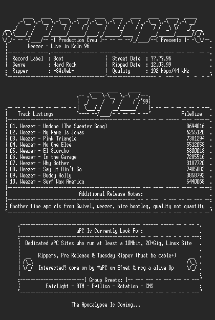 NFO file for Weezer-Live_In_Koln_96-1996-aPC