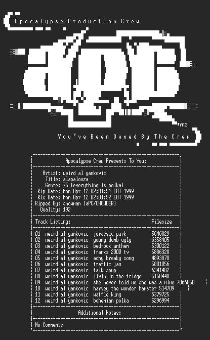 NFO file for Weird_al_yankovic-alapalooza-1993-apc