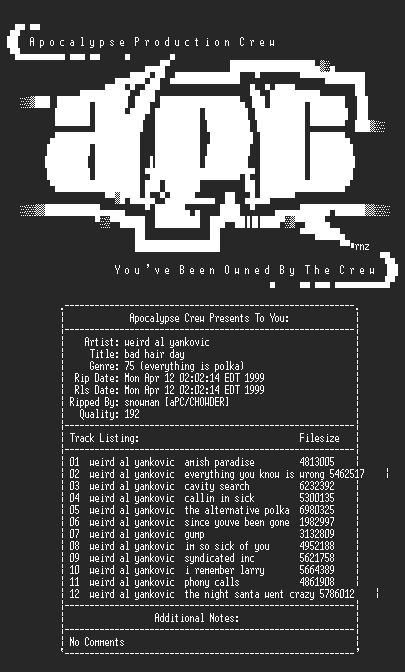 NFO file for Weird_Al_Yankovic-Bad_Hair_Day-1996-aPC