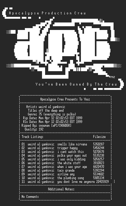 NFO file for Weird_Al_Yankovic-Off_The_Deep_End-1992-aPC