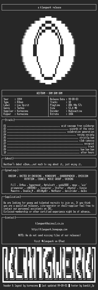 NFO file for Westbam--bam.bam.bam-1994-kW