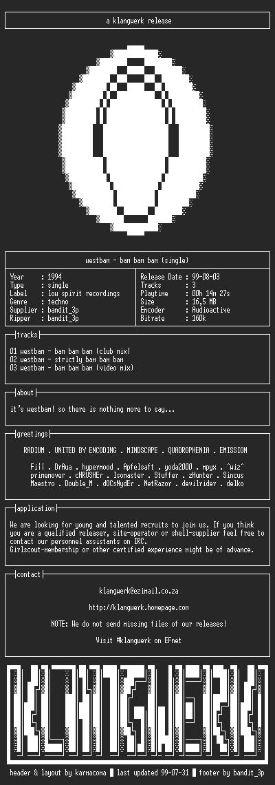 NFO file for Westbam--bam.bam.bam.(single)-1994-kW