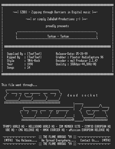 NFO file for Tarkan_-_Tarkan_(1998)-ZBD