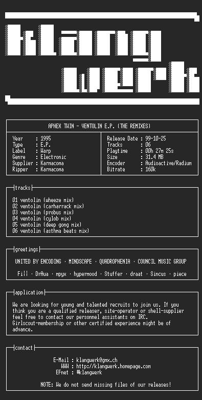 NFO file for aphex.twin--ventolin.e.p.(the.remixes)-1995-kW