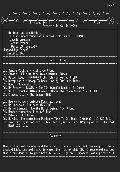 NFO file for Various_artists-underground_beats_series2_vol10-promo-1999-apc