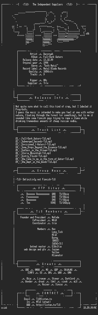 NFO file for Decoryah_-_Fall-Dark_Waters-TiS