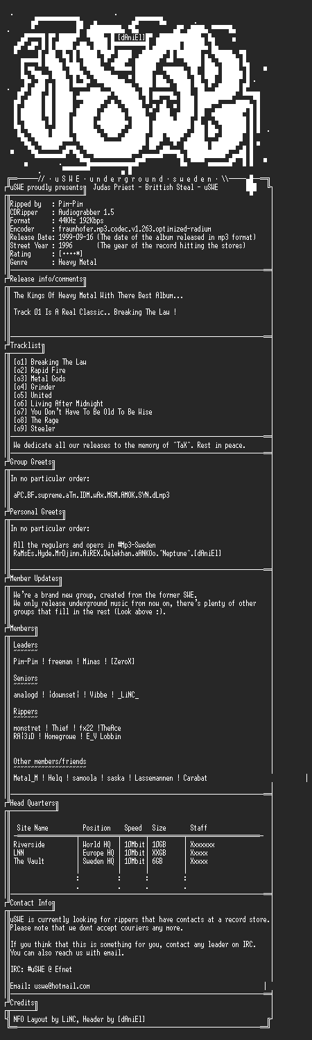 NFO file for Judas_Priest_-_British_Steal_(1996)_-_uSWE