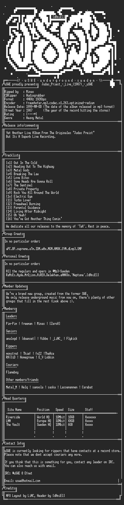 NFO file for Judas_Priest_-_Live_(1987)_-_uSWE