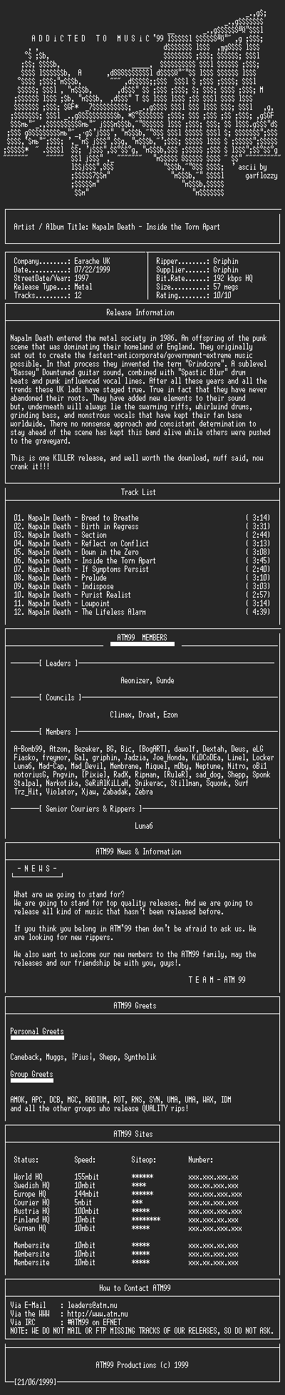 NFO file for Napalm_Death_-_Inside_the_Torn_Apart_-_(1997)-ATM99