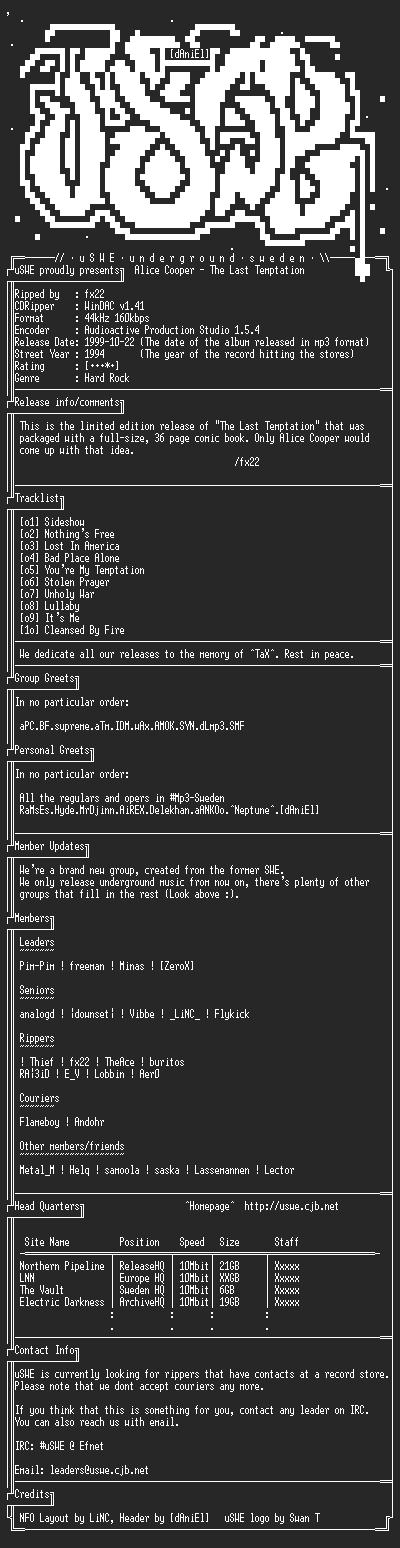 NFO file for Alice_Cooper_-_The_Last_Temptation_(1994)_-_uSWE