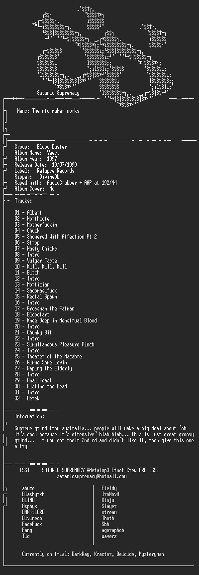 NFO file for Blood_Duster_-_Yeest-1997-ss