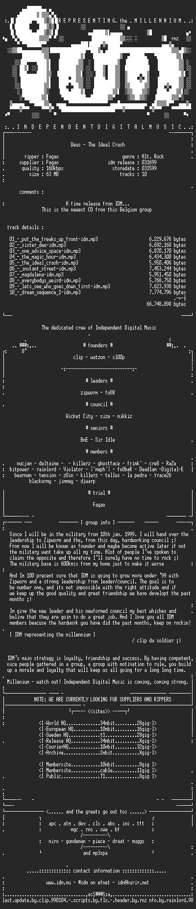 NFO file for Deus_-_The_Ideal_Crash-(1999)-IDM