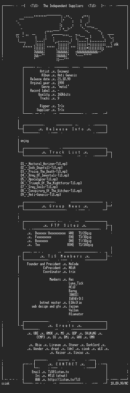 NFO file for Eminenz_-_Anti_Genesis-1998-TiS