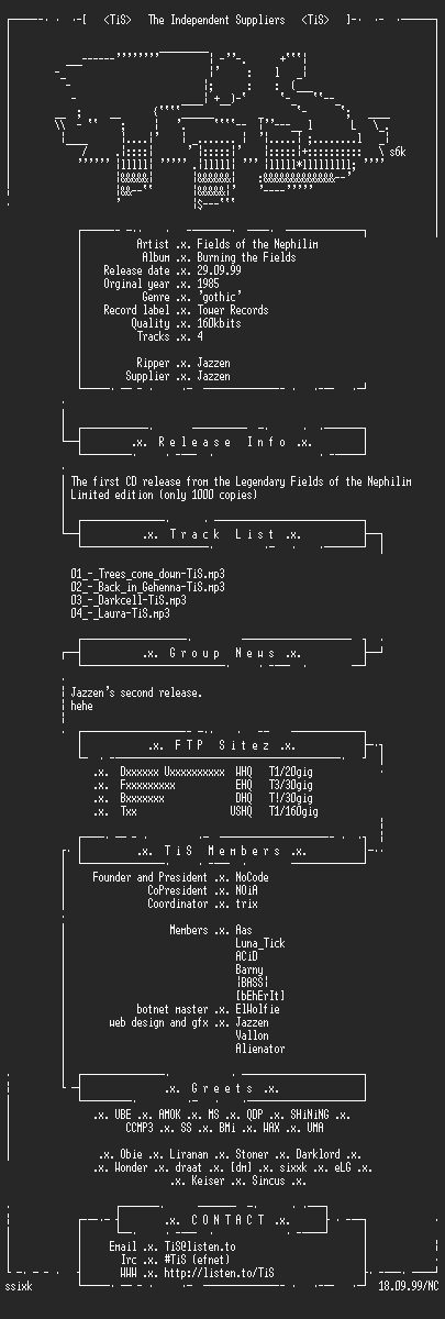 NFO file for Fields_of_the_Nephilim_-_Burning_the_Fields-Ltd.Ed-CDS-1985-TiS