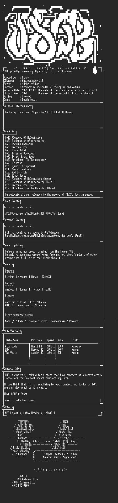 NFO file for Hypocrisy_-_Osculum_Obscenum_(Digipack)_(1993)_-_uSWE