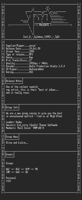 NFO file for Just_D_-_Gyldene_(1995)_-_TgD