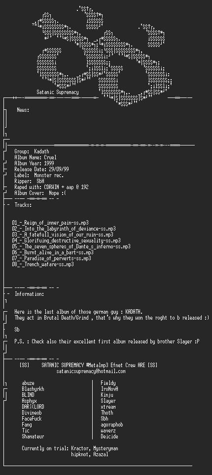 NFO file for Kadath_-_Cruel-1999-ss