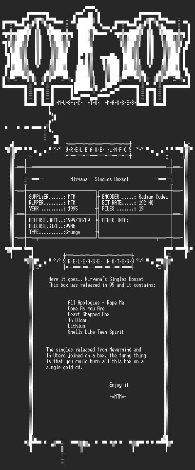 NFO file for Nirvana_-_Singles_Boxset_(1995)_-_MTM