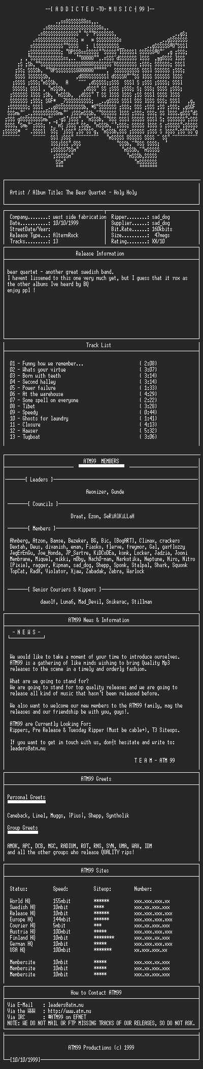 NFO file for The_Bear_Quartet_-_Holy_Holy_(1995)-ATM99