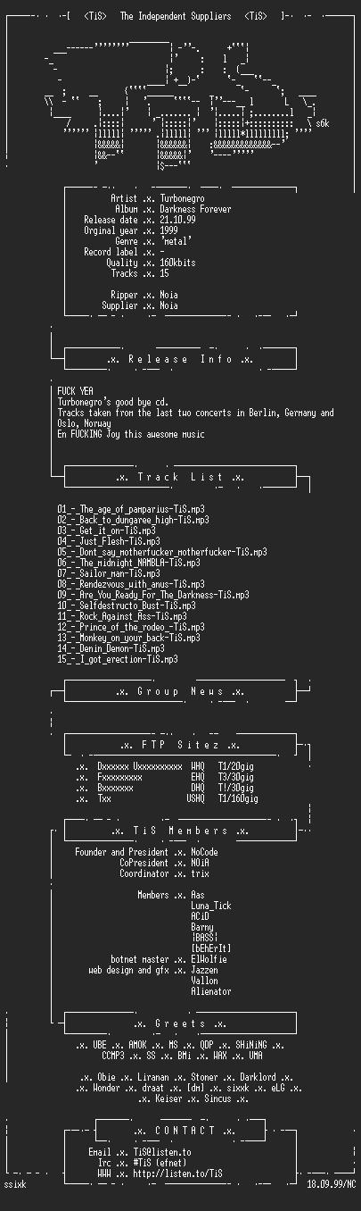 NFO file for Turbonegro_-_Darkness_Forever-1999-TiS