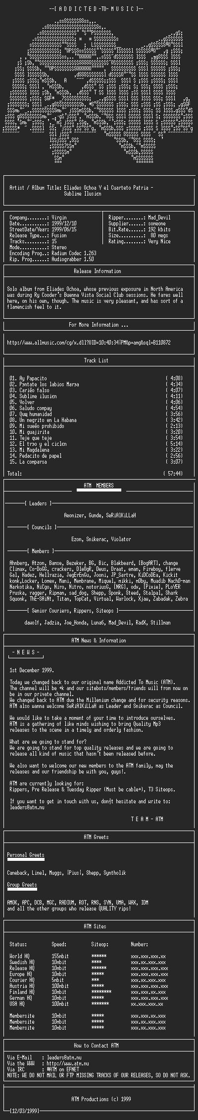 NFO file for Eliades_Ochoa_-_Sublime_Ilusion_(1999)-ATM