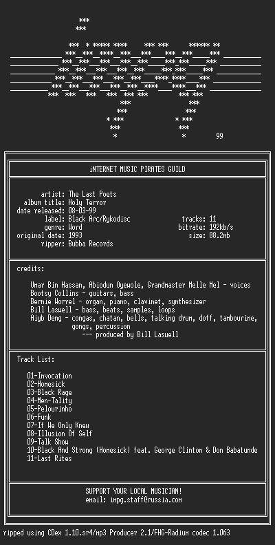 NFO file for The_Last_Poets_-_Holy_Terror_(1993)-iMPG