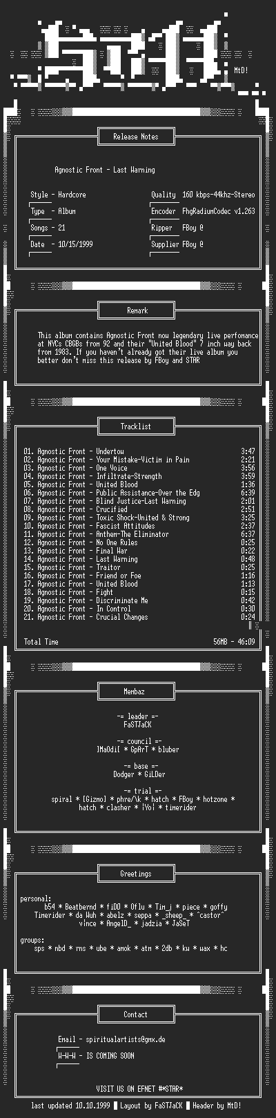 NFO file for Agnostic_Front-Last_Warning-(1992)-STAR