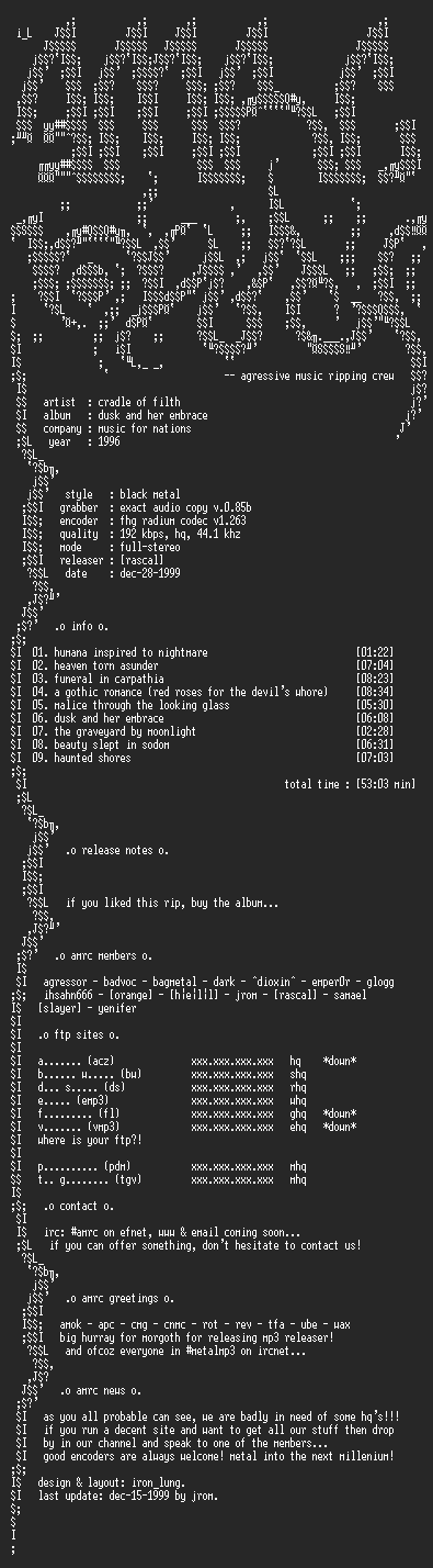 NFO file for Cradle_Of_Filth-Dusk_And_Her_Embrace-1996-AMRC