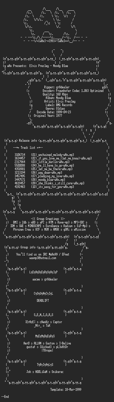 NFO file for Elvis_Presley_-_Moody_Blue_(1977)-wAx
