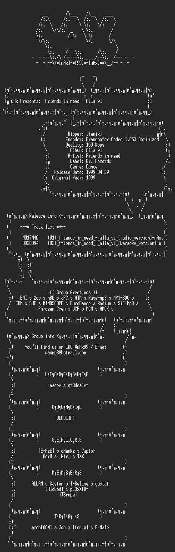 NFO file for Friends_In_Need_-_Alla_Vi_(singel)_(1999)-wAx