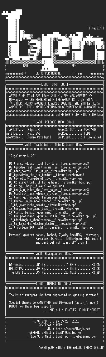 NFO file for Rigoler_vol_25__ripped_by_firewalker-bpm