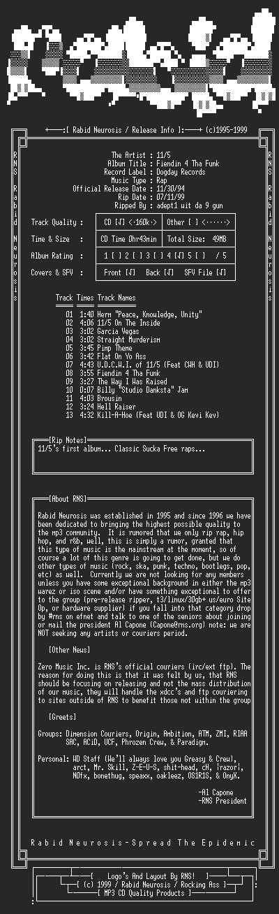 NFO file for 11_5-Fiendin_4_Tha_Funk-1994-RNS