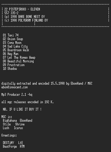 NFO file for 22_Pistepirkko_-_Eleven-MGC