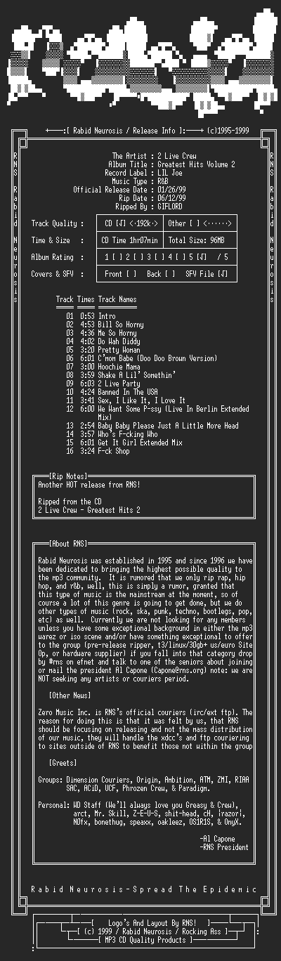 NFO file for 2_Live_Crew-Greatest_Hits_Volume_2-1999-RNS