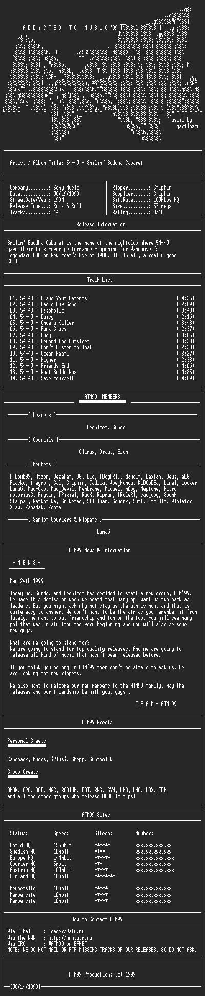 NFO file for 5440_-_Smilin_Buddha_Cabaret_-_(1994)-ATM99