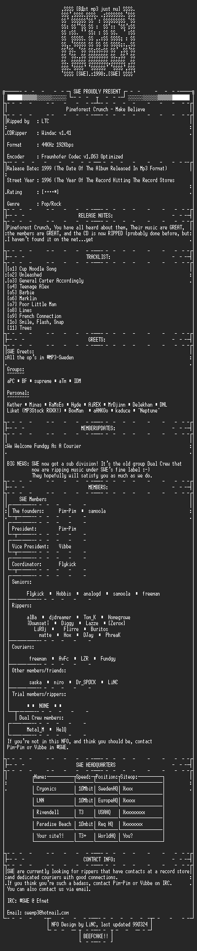 NFO file for Pineforest_crunch_-_make_believe_(1996)-SWE