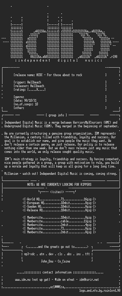 NFO file for ACDC-For_Those_About_To_Rock-IDM