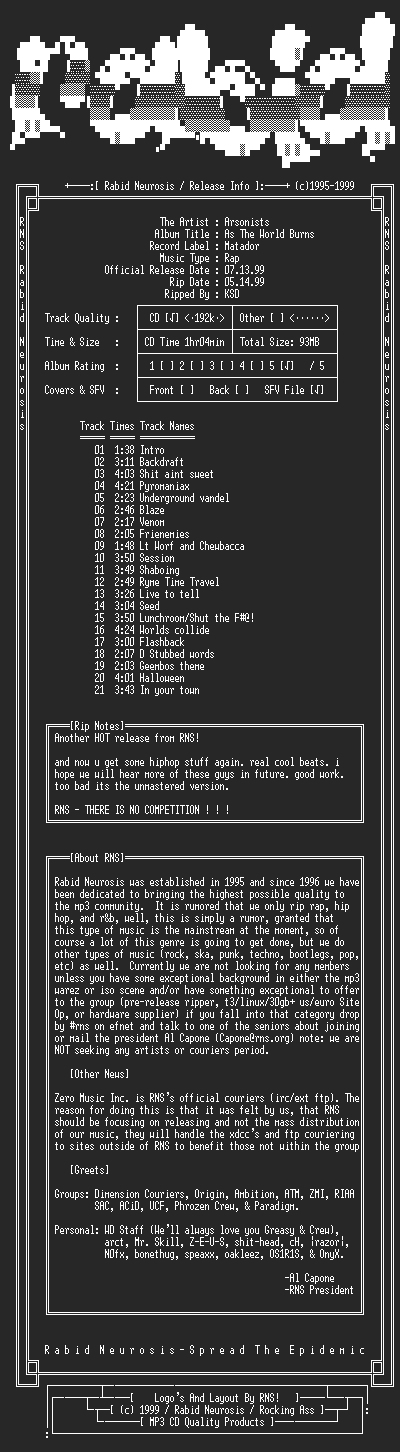 NFO file for Arsonists-As_The_World_Burns-1999-RNS