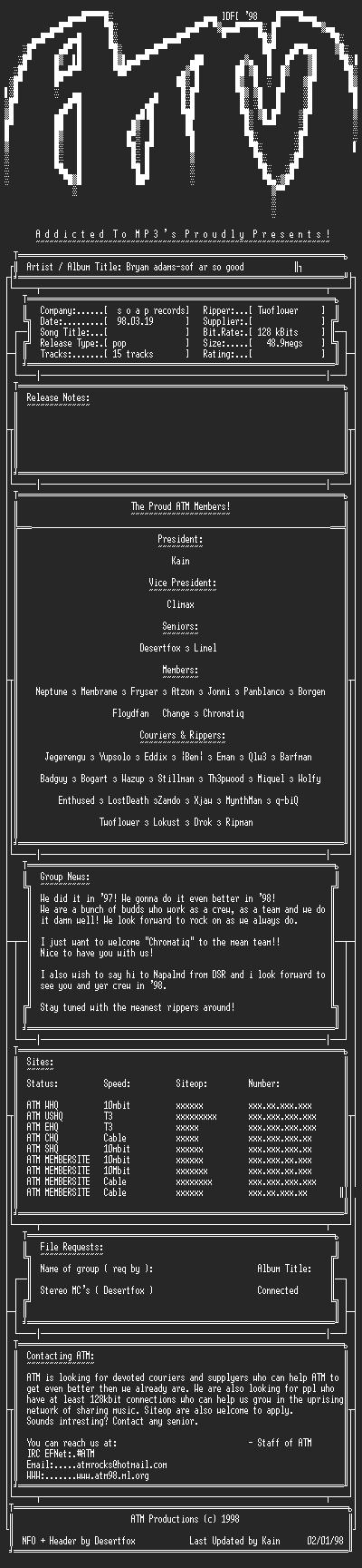 NFO file for Bryan_Adams-Sof_Ar_So_Good-ATM