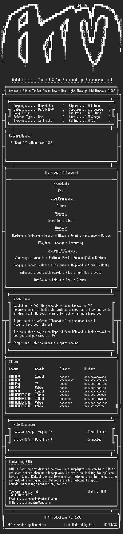 NFO file for Chris_Rea_-_New_Light_Through_Old_Windows_(1988)_-_ATM