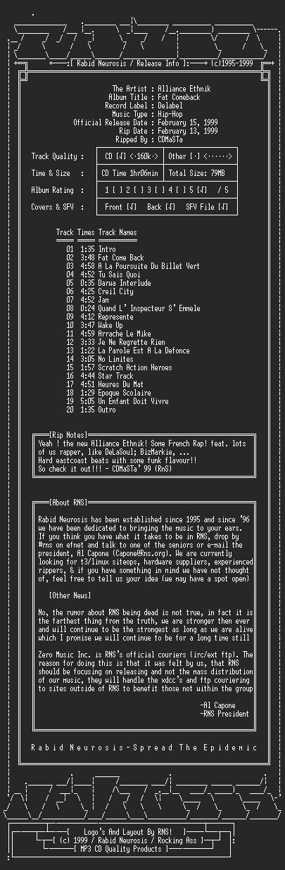 NFO file for Alliance_Ethnik-Fat_Comeback-1999-RNS