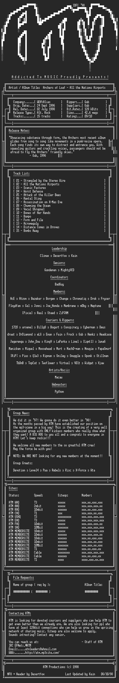 NFO file for Archers_of_Loaf_-_All_the_Nations_Airports_(1996)_-_ATM