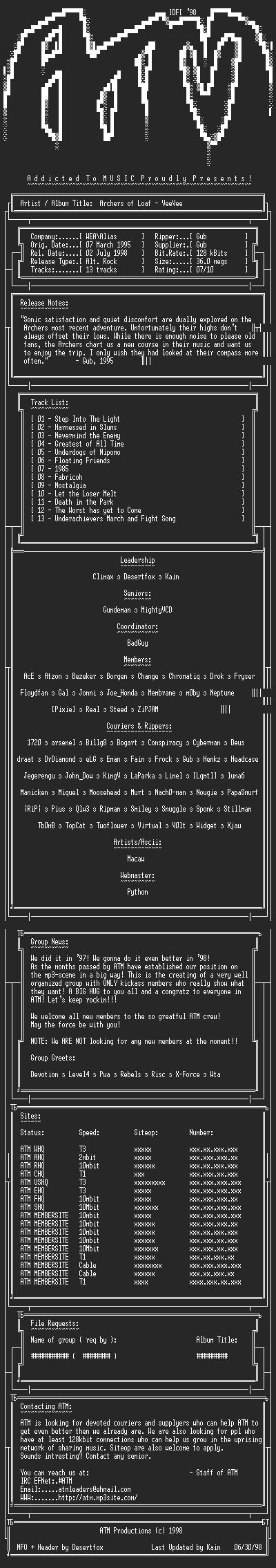 NFO file for Archers_of_Loaf_-_VeeVee_(1995)_-_ATM