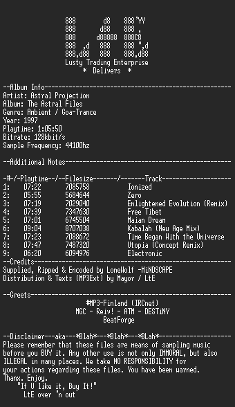 NFO file for Astral_Projection_-_The_Astral_Files_-_LtE