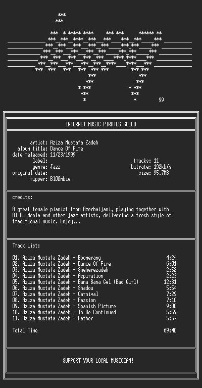 NFO file for Aziza.Mustafa.Zadeh--Dance.Of.Fire-(1995)-iMPG
