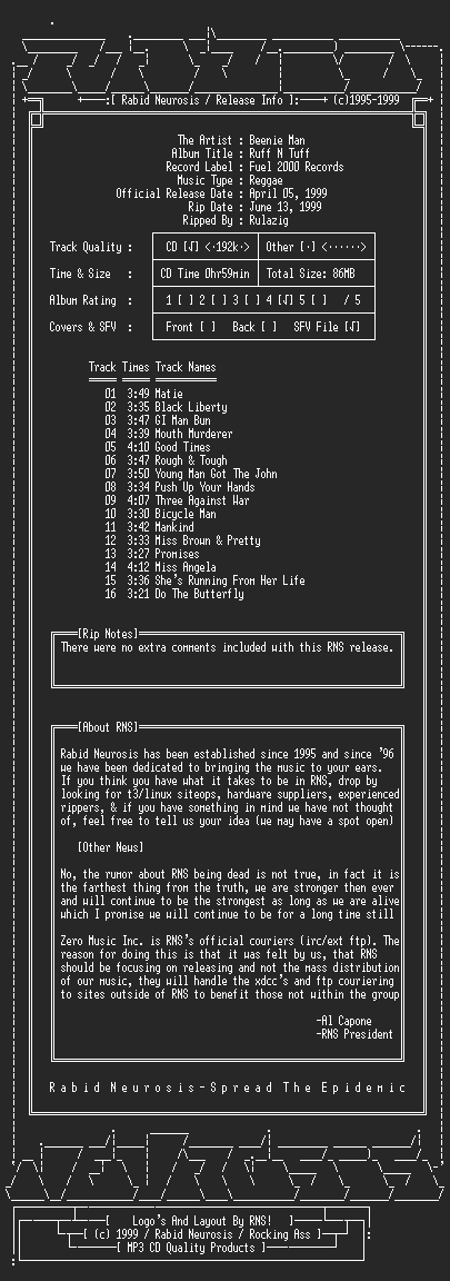 NFO file for Beenie_Man-Ruff_N_Tuff-1999-RNS