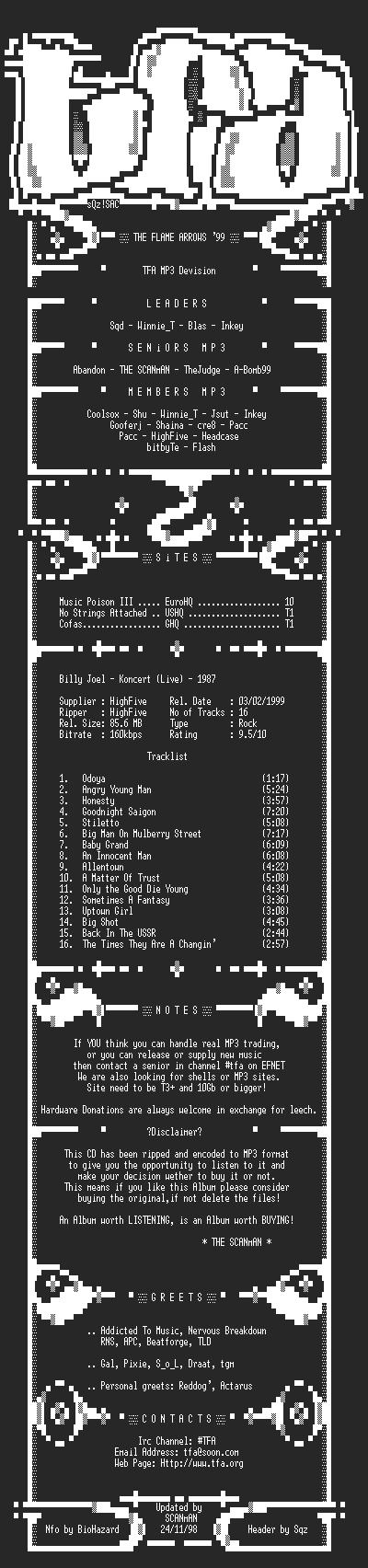 NFO file for Billy_Joel_-_Concert_(Live)_(1987)-TFAMP3