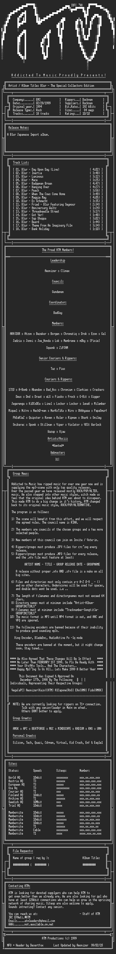 NFO file for Blur_-_The_Special_Collectors_Edition_-_1994-ATM