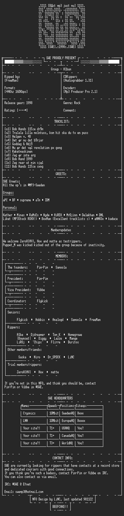 NFO file for Bob_Hund-Jag_Rear_Ut_Min_Sjal_Allt_Skall_Bort-SWE